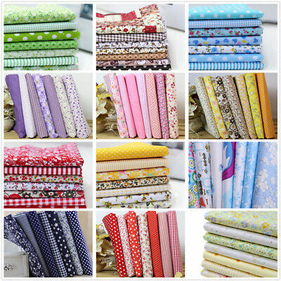 7PC Mixed Cotton Fabric Material Sewing Value Bundle Scraps Offcuts Quilting ne