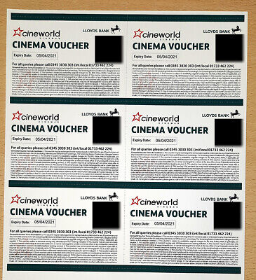 6 x Cineworld Cinema Voucher Tickets (Expiry 05/04/21)