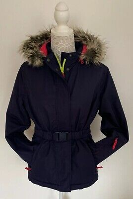 Mini Boden Johnnie B Girls Navy Pink Lime Belted Fur Hood Ski Jacket Age 13-14