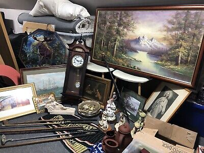 House Clearance Job Lot Antique Vintage Pictures Wall Clock Golf Pottery