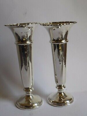 Pair of Sterling Silver Posey Vases. Full English Hallmarks.  Free UK Post !!!!