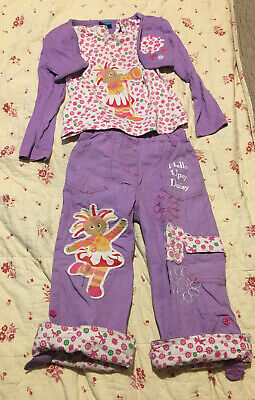 Girls 4 Pice Outfit Upsy Daisy Print Trousers Top Skirt And Cardigan Age 3-4 Yrs