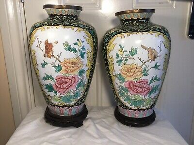 Pair CLOISONNE vases on stands used condition
