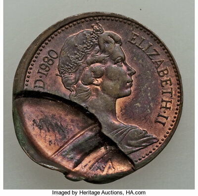 Elizabeth II Error New Penny Pair 1971-80,  partial brockage /double clip