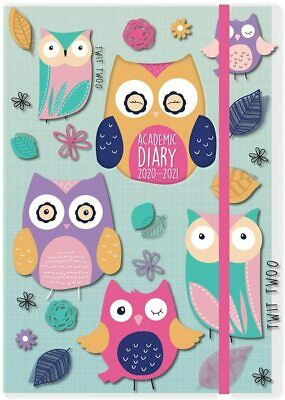 2020-2021 Diary A5 Day to Page Academic Spiral Bound Student Teacher Diary Owl