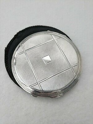 ART DECO 1933 Solid Sterling Silver Engine Turned Compact Case Handbag Mirror