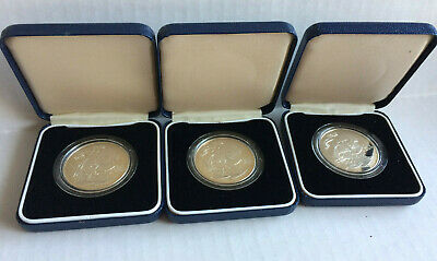3 GIBRALTAR 1980 ONE CROWN PROOF NELSON SHIP 1758 - 1805 original containers #1
