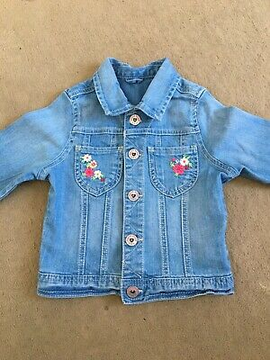 Mothercares Girls Light Blue Jean Jacket Age 3/4yrs Little Flowers Design G.con