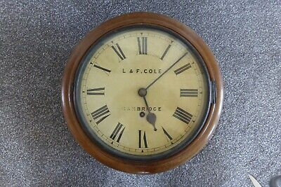 """Antique 13"""" Station/School Wall clock with L & F Cole Cambridge  on the Face"""