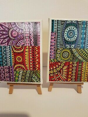 Set Of Two Colourful Collage Abstract Art Mini Canvas With Easels 120 X 160 Mm