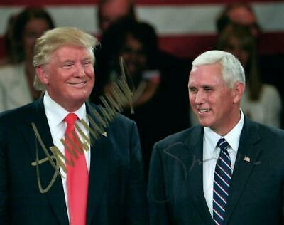 Donald Trump Mike Pence signed 8x10 Photo autograph Picture includes a COA nice