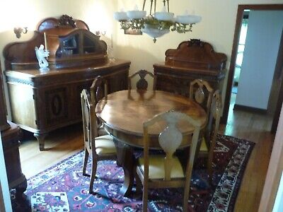 Antique Hungarian Biedermeier 10-Piece Dining Room Suite - Stunning