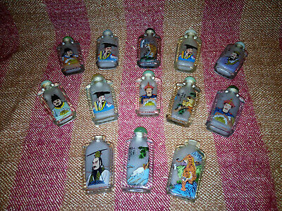 Good Collection of 13 x Vintage Chinese Reverse Painted Snuff Bottles