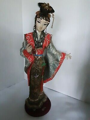 """Antique Vintage Japanese Doll Kimono And Clothes Figurine 20"""" Tall RARE find!"""