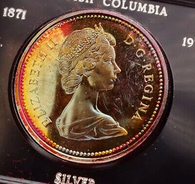 1971 Canada Silver One Dollar Coin British Colombia Original Box Colorful TONING