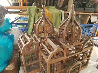 Birdcages Pair Of Handmade Vintage Wood & Wire - Charity Auction