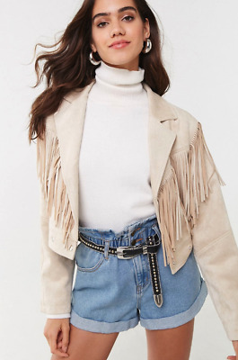 Fringed Western Jacket Medium Tan Faux Suede snap Front Blazer by Forever 21