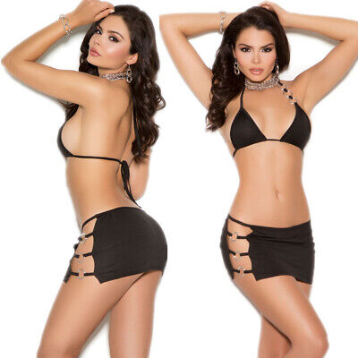 Brief Bikini Sexy Lingerie Underwear Nightclub Babydoll  Nightdress Black L
