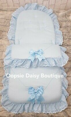 Blue Large Ribbon Foot Muff Cosy Toes Pram Nest