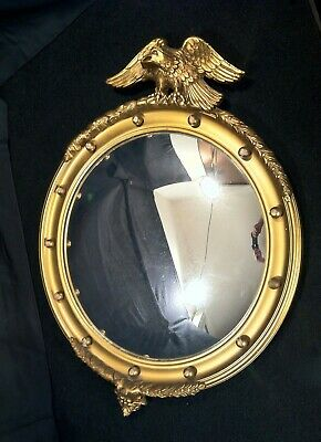 Old American Eagle Federal Style Bull's Eye Mirror Wood & Gesso Age Unknown READ