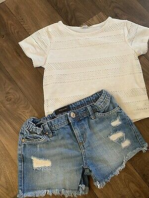 River Island Girls Outfit Set Denim Shorts Cropped Top 7-8 Years