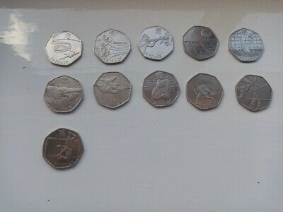 Job Lot Olympic 50p Coins 2011 All 11 Circulated in Good Condition