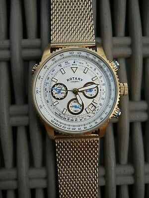 Rotary Mens Stainless Steel Gold Plated Bracelet Watch