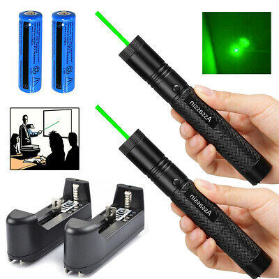 2PC 900Miles 532nm Green Laser Pointer Lazer Torch Rechargeable+Battery+Charger