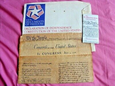 RARE Declaration of Independence & 3 other historical Reproduction on parchment