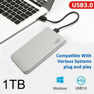 1TB USB3.0 External Hard Drive Disks HDD 2.5'' Fit For PC Laptop Silver Portable