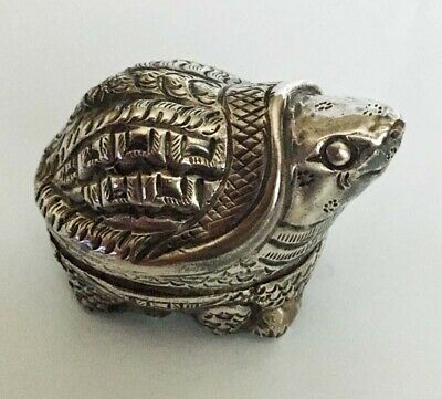 Small Antique .90 Silver Turtle Animal Snuff/Pill Box Signed