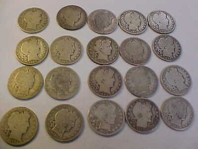 1902 - 1915 Barber Half Dollar Full Roll 20 Coins $10 Face 90 % Silver Barbers