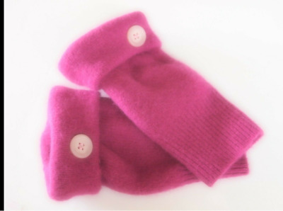 Fingerless Gloves Pink Angora Cashmere Wool Women's One Size Fits Most S M L