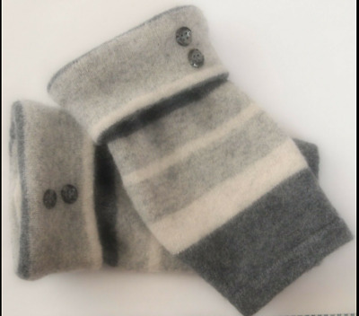 Fingerless Gloves Gray Angora Wool Women's Stripe Grey One Size Fits Most S M L