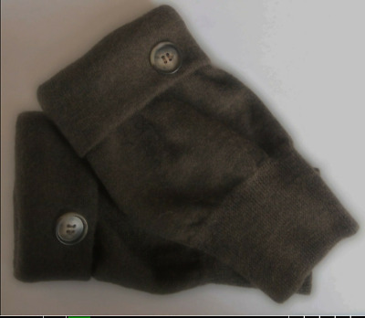 Fingerless Gloves Brown 100% Merino Wool Women's One Size Fits Most S M L Text *
