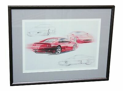 FERRARI F355 Official Works Concept Sketches Limited Edition Framed Art