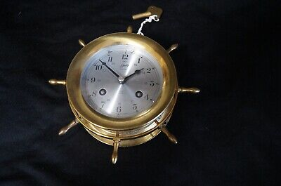 Vintage Schatz Mariner 8 Bell 8 Day Wall Clock 7 Jewels Runs / With Key
