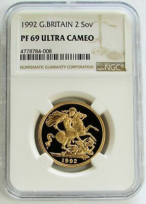 1992 Gold Great Britain 2 Pounds Coin Ngc Proof 69 Ultra Cameo