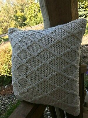 Villa by Classic Home KNIT THROW PILLOW 18X18~IVORY
