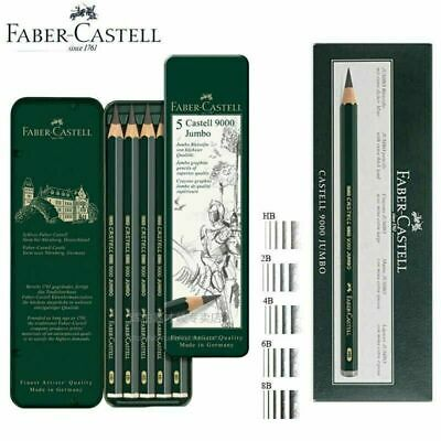 Faber Castell 9000 JUMBO pencils pack of 5 - HB, 2B, 4B , 6B , 8B Artist pencils