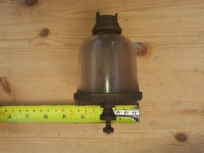 Vintage brass glass drip feed oiler stationary traction engine, live steam