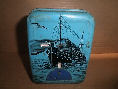 Neat old original tin Queen Mary registering semi mechanical bank England 1930's