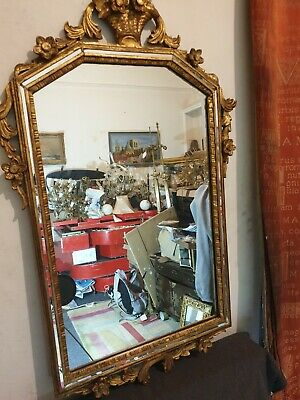 Beautiful Original 19th/Early 20th Century Hand Carved Giltwood Wall Hall Mirror