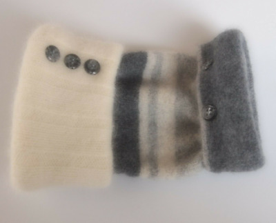 Fingerless Gloves Gray Ivory Angora Wool Women's Grey Striped Size Large L Text