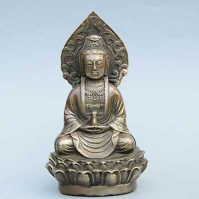 Collectable China Old Bronze Hand-Carved Kwan-Yin Bodhisattva Delicate Statue