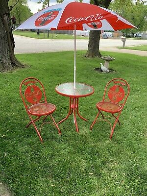 90's Coca Cola Cafe Glass Table, Metal Chairs And Umbrella