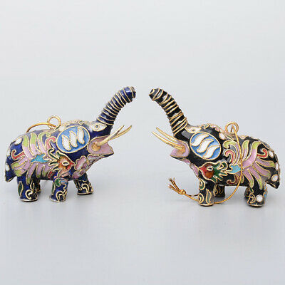 Collectable China Old Cloisonne Hand-Carve Lovely Elephant A Pair Decor Statue