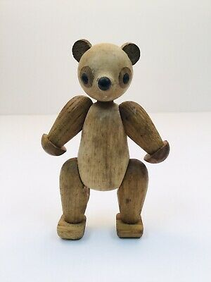 """Zoo-Line Jointed Wood Bear 4 3/8"""" Tall"""