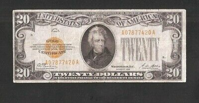 Sharp Rare Solid A Block 1928 $20 Gold Note! No Reserve Auction, No Pinholes