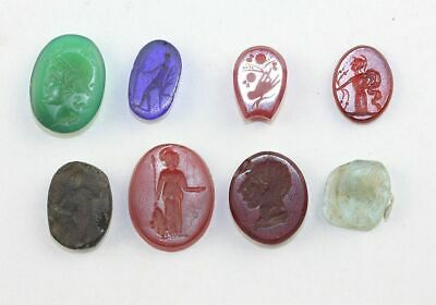 *Sc* Lot Of 8 Intaglios In Gemstone And Glass, Roman 1St. - 19Th. Cent. Ad